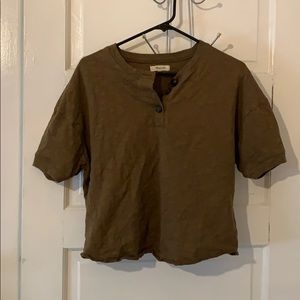 Madewell, Olive, cropped, Henley Tee